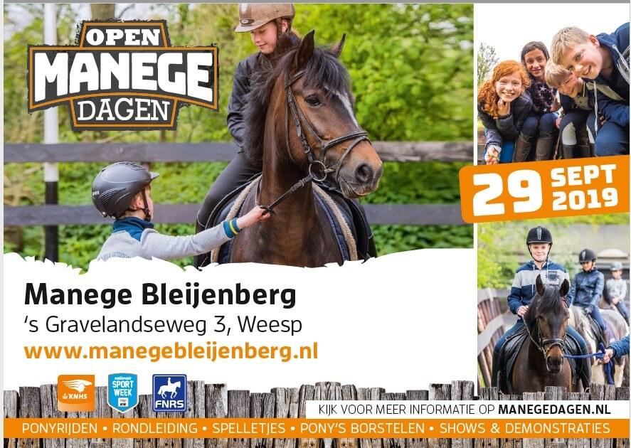 29 september opendag Manege Bleijenberg!